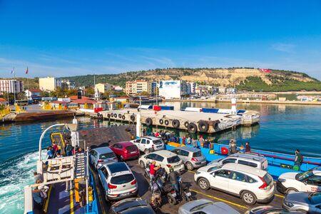 CANAKKALE, TURKEY - JULY 21, 2017: Ferry in Dardanelles strait, Turkey in a beautiful summer day Redactioneel