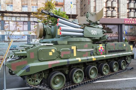 KIEV, UKRAINE - AUGUST 24, 2017: Exhibition of military equipment in Kiev in a beautiful summer day, Ukraine on August 24, 2017 Sajtókép