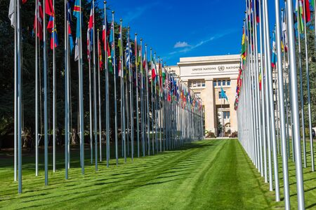 GENEVA, SWITZERLAND - JULY 25, 2017: United Nations entrance and building in Geneva in a beautiful summer day, Switzerland Editorial