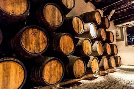 LISBON, PORTUGAL - JULY 30, 2014: Barrels in the wine cellar in Porto in Portugal