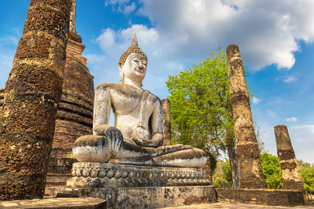 Wat Sa Si temple in Sukhothai historical park, Thailand in a summer day