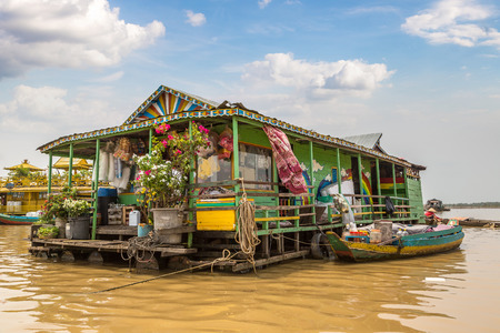 Chong Khneas floating village near Siem Reap, Cambodia in a summer day