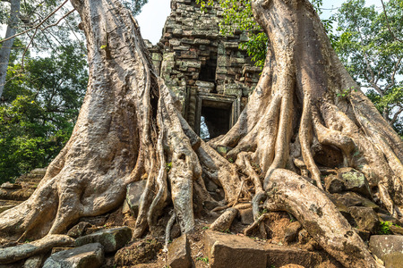 Preah Palilay temple ruins is Khmer ancient temple in complex Angkor Wat in Siem Reap, Cambodia in a summer day