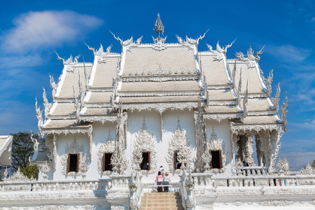 White Temple (Wat Rong Khun) in Chiang Rai, Thailand in a summer day Stock Photo