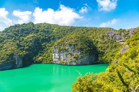 Thale Nai lagoon at Mae Koh island in Mu Ko Ang Thong National Park, Thailand in a summer day Stock Photo