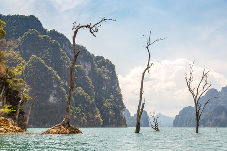 Beautiful nature at Cheow Lan lake, Ratchaprapha Dam, Khao Sok National Park in Thailand in a summer day Stock Photo