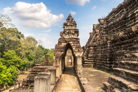 Baphuon temple ruins is Khmer ancient temple in complex Angkor Wat in Siem Reap, Cambodia in a summer day Stok Fotoğraf
