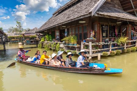 PATTAYA, THAILAND - MARCH 11, 2018: Floating Market in Pattaya, Thailand in a summer day Editorial