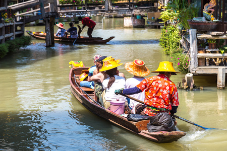 Floating Market in Pattaya, Thailand in a summer day Stock Photo