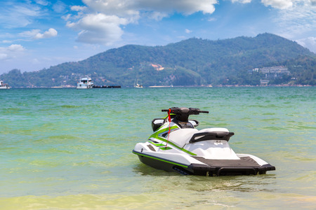Jet ski on Patong beach and Andaman sea on Phuket in Thailand in a summer day