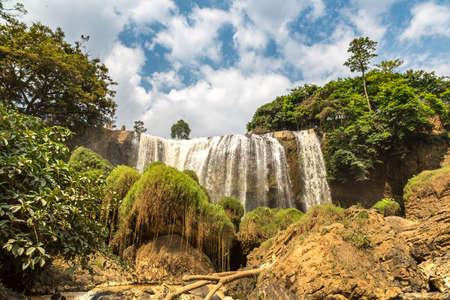 Elephant waterfall in Dalat, Vietnam in a summer day Banco de Imagens