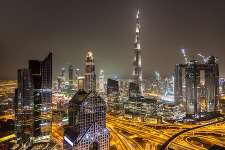 Panorama of downtown Dubai at night, United Arab Emirates