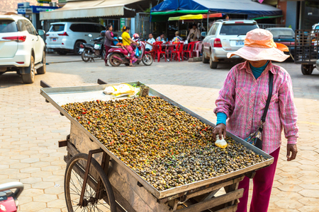 SIEM REAP, CAMBODIA - JUNE 11, 2018: Woman selling fast food on street Siem Reap, Cambodia in a summer day