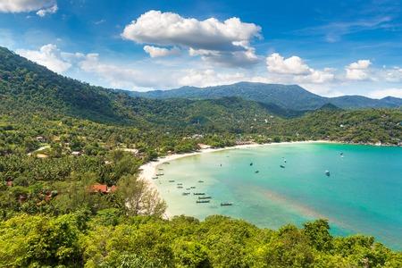 Panoramic view of Ao Thong Nai Pan Noi beach on Koh Phangan island, Thailand in a summer day Stock Photo