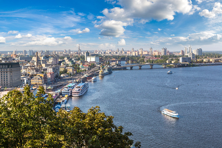 Panoramic view of district Podol in Kiev, Ukraine in a beautiful summer day