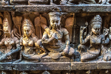 Sculpture on the wall Terrace of Elephants temple is Khmer ancient temple in complex Angkor Wat in Siem Reap, Cambodia Banco de Imagens