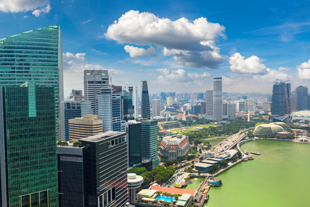 Panoramic aerial view of Singapore in a summer day Stock fotó
