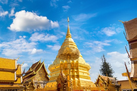 Golden pagoda Wat Phra That Doi Suthep in Chiang Mai, Thailand in a summer day Stock Photo