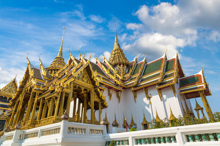 Grand Palace and Wat Phra Kaew (Temple of the Emerald Buddha) in Bangkok in a summer day Stock Photo