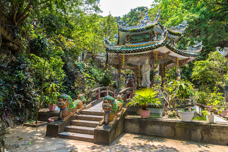 Buddhist temple at Marble mountains in Danang, Vietnam in a summer day Imagens