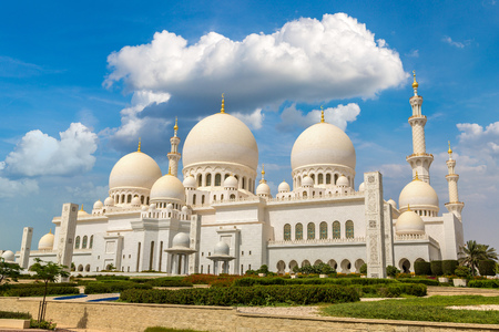 Grand Mosque in Abu Dhabi in a summer day, United Arab Emirates
