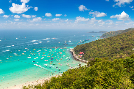 Panoramic aerial view of Koh Lan island, Thailand in a summer day