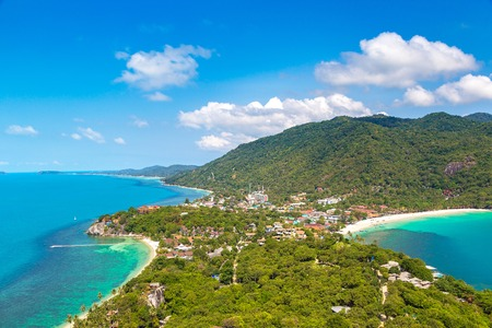 Panoramic aerial view of Koh Phangan island, Thailand in a summer day