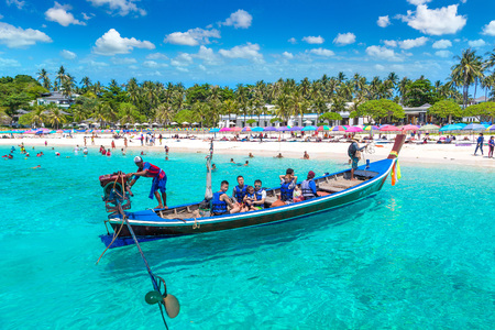 RACHA, THAILAND - MARCH 21, 2018: Racha (Raya) resort island near Phuket island, Thailand in a summer day
