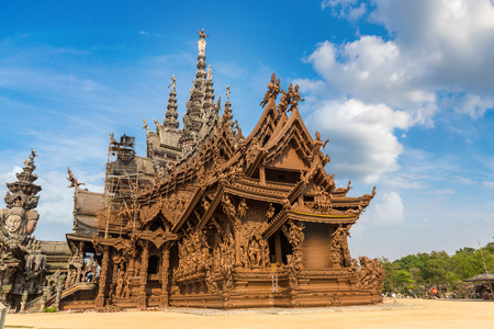 Sanctuary of Truth in Pattaya, Thailand in a summer day Stock Photo