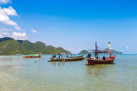 Thai fisherman boat in in Khao Sam Roi Yot National Park, Thailand in a summer day