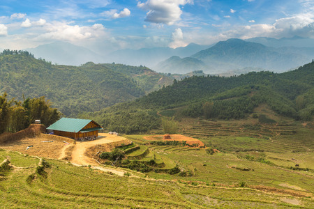 Panoramic view of Terraced rice field in Sapa, Lao Cai, Vietnam in a summer day Stockfoto
