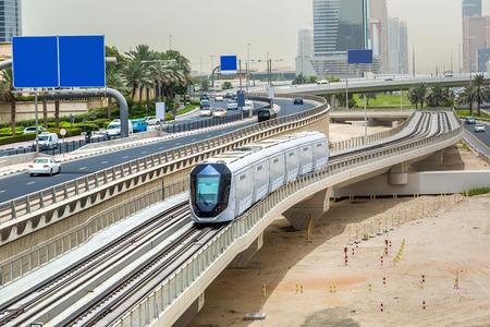 New modern tram in Dubai, United Arab Emirates Фото со стока