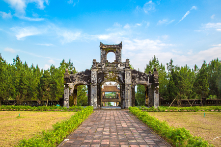 Temple of Literature in Hue, Vietnam in a summer day Stock Photo