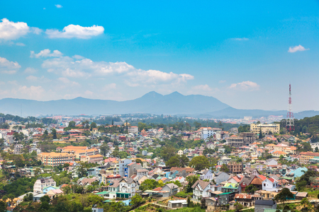 Panoramic aerial view of Dalat, Vietnam in a summer day