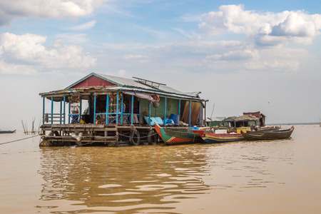 Chong Khneas floating village near Siem Reap, Cambodia in a summer day Redakční
