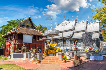 Wat Sri Suphan (Silver temple) - Buddhists temple in Chiang Mai, Thailand in a summer day