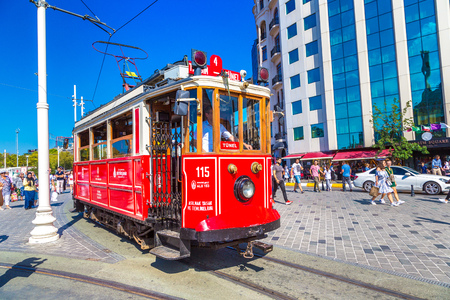 ISTANBUL, TURKEY - MAY 14 : Retro tram on Taksim Istiklal Street  in Istanbul, Turkey in a summer day Reklamní fotografie - 114870918