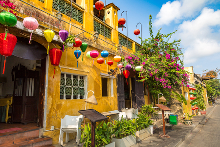 Colorful street  in Hoi An, Vietnam in a summer day Redakční
