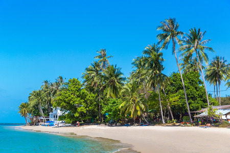 Tropical beach with palm trees on Koh Samui island, Thailand in a summer day Redakční