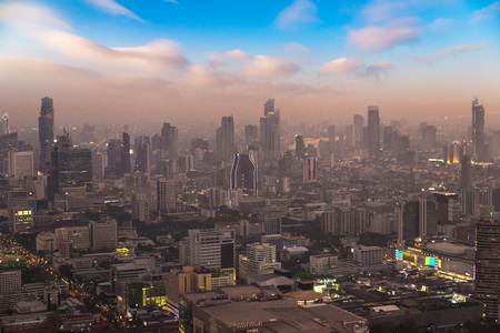 Aerial view of Bangkok in a summer evening
