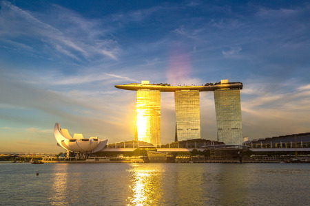 SINGAPORE - JUNE 23, 2018: Marina Bay Sands hotel and Art and Science Museum at summer night