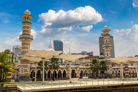 Sultan Abdul Samad Jamek Mosque (Masjid Jamek) in Kuala Lumpur, Malaysia at summer day Redakční