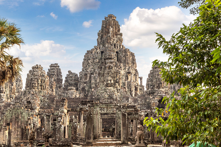 Bayon temple is Khmer ancient temple in complex Angkor Wat in Siem Reap, Cambodia in a summer day