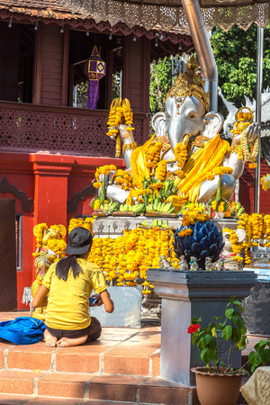 Ganesh in Wat Sri Suphan (Silver temple) - Buddhists temple in Chiang Mai, Thailand in a summer day