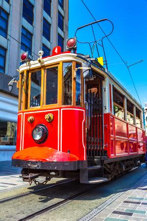 Retro tram on Taksim Istiklal Street  in Istanbul, Turkey in a summer day Reklamní fotografie - 124283743