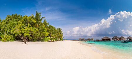 Panorama of Tropical beach in the Maldives at summer day Reklamní fotografie