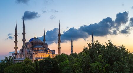 Panorama of Blue mosque (Sultan Ahmet mosque) in Istanbul, Turkey in a beautiful summer night