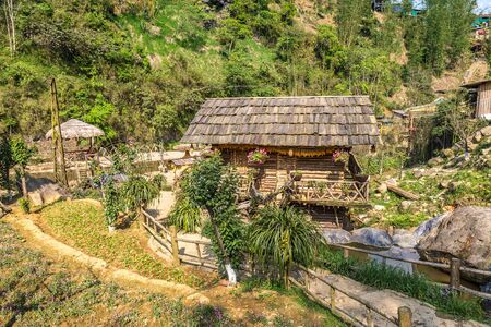 Cat Cat village near Sapa, Lao Cai, Vietnam in a summer day Banque d'images - 125336141