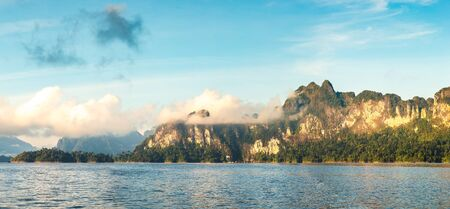 Panorama of Beautiful nature at Cheow Lan lake, Ratchaprapha Dam, Khao Sok National Park in Thailand in a summer day