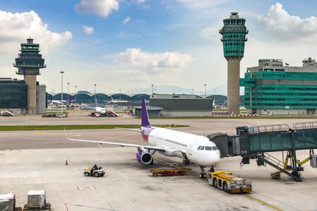 Hong Kong International Airport at summer day